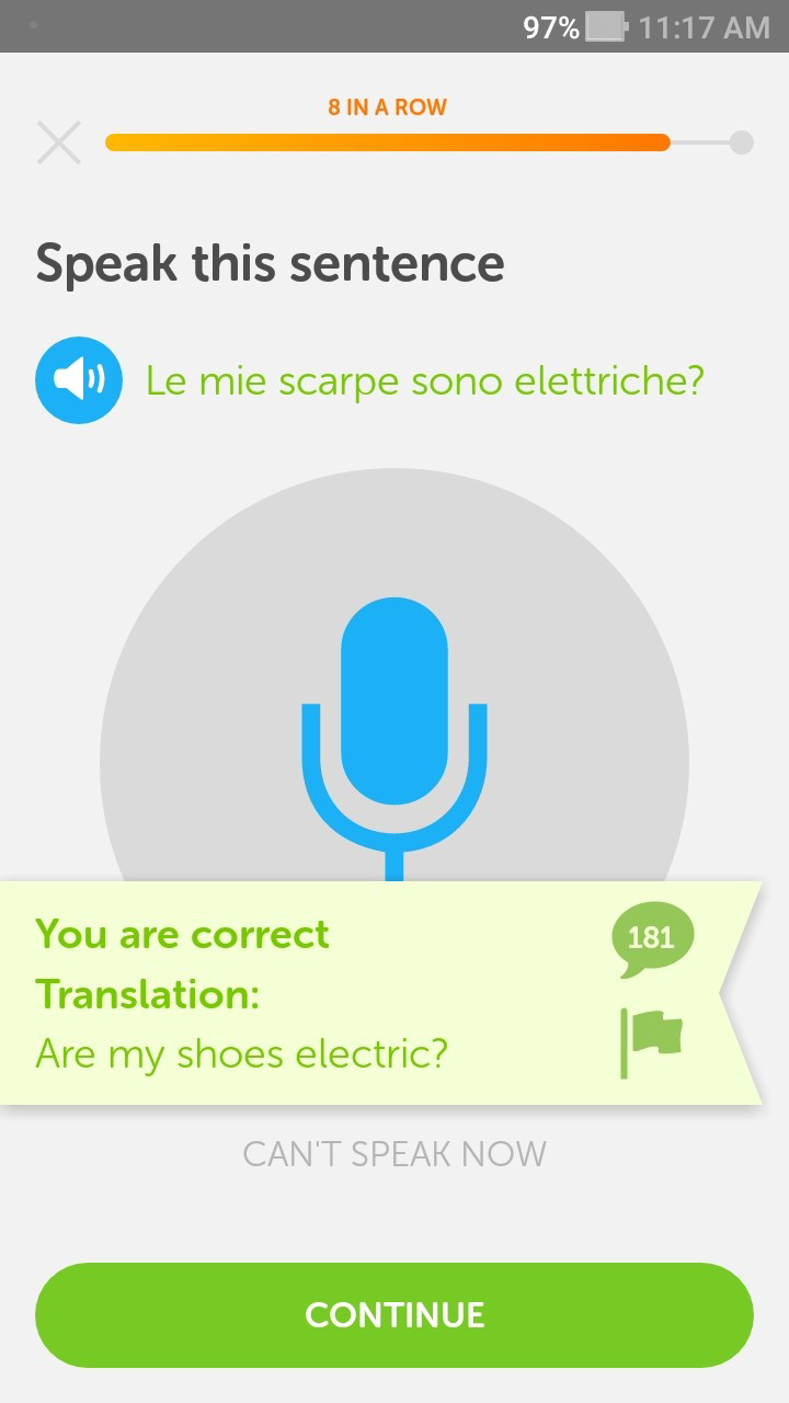 Duolingo Italian for English speakers course: Le mie scarpe sono elettriche? translates as Are my shoes electric?