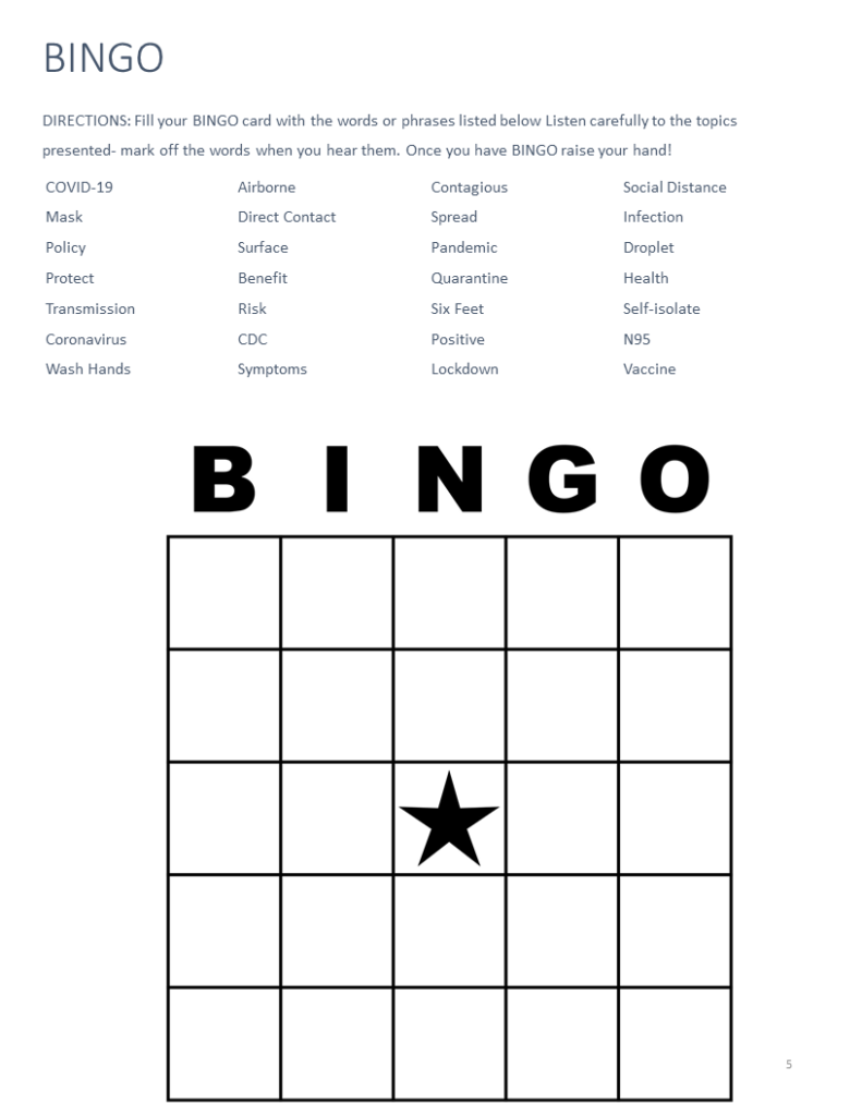 A BINGO game for employees to track terms they hear during the training