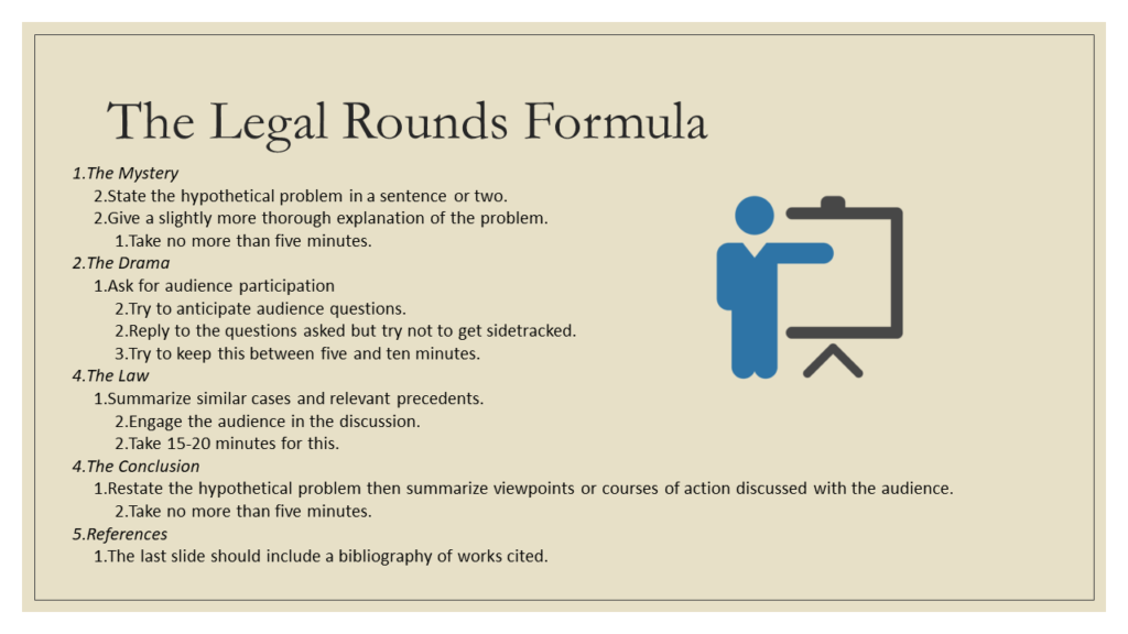 The Legal Rounds Formula: 1. The Mystery a. State the hypothetical problem in a sentence or two. b. Give a slightly more thorough explanation of the problem. i. Take no more than five minutes. 2. The Drama a. Ask for audience participation i. Try to anticipate audience questions. ii. Reply to the questions asked but try not to get sidetracked. iii. Try to keep this between five and ten minutes. 3. The Law a. Summarize similar cases and relevant precedents. i. Engage the audience in the discussion. ii. Take 15-20 minutes for this. 4. The Conclusion a. Restate the hypothetical problem then summarize viewpoints or courses of action discussed with the audience. i. Take no more than five minutes. 5. References a. The last slide should include a bibliography of works cited.
