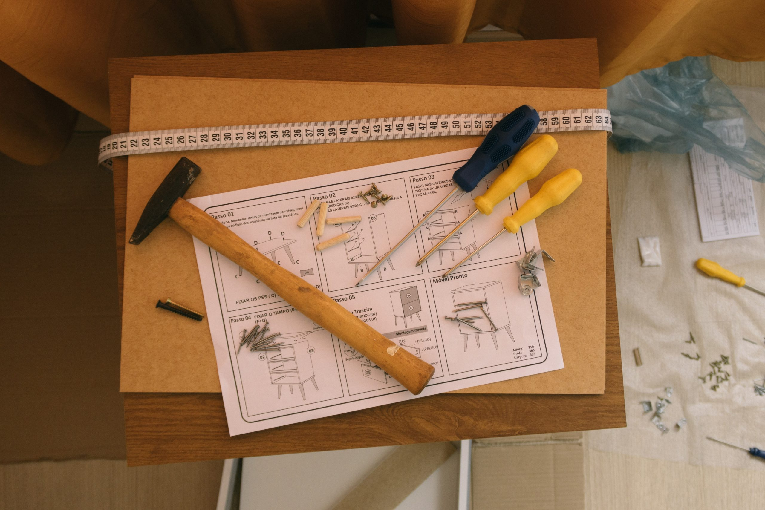 Flat pack furniture assembly instructions and some tools