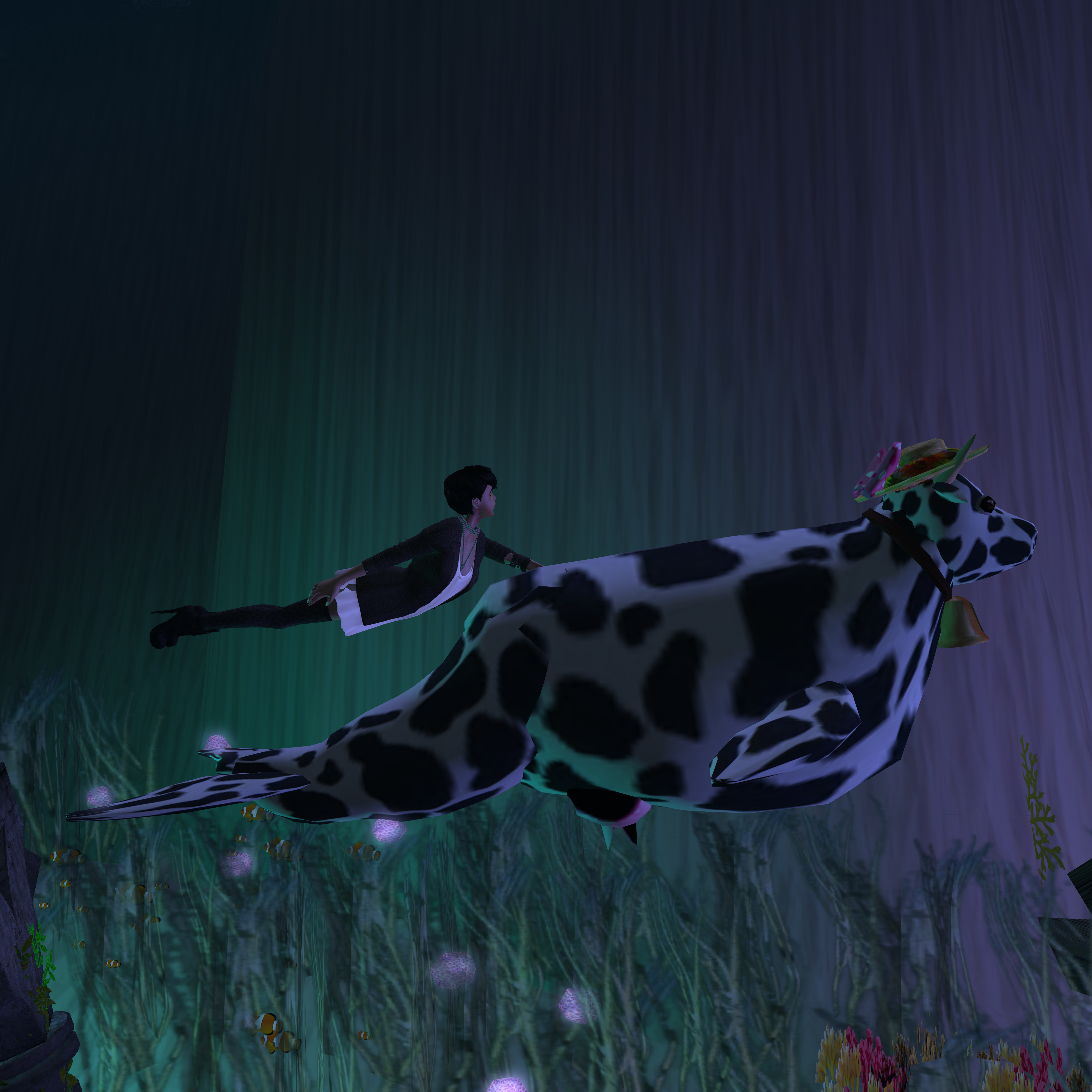 A female Second Life avatar is hanging onto a large sea cow as it swims.