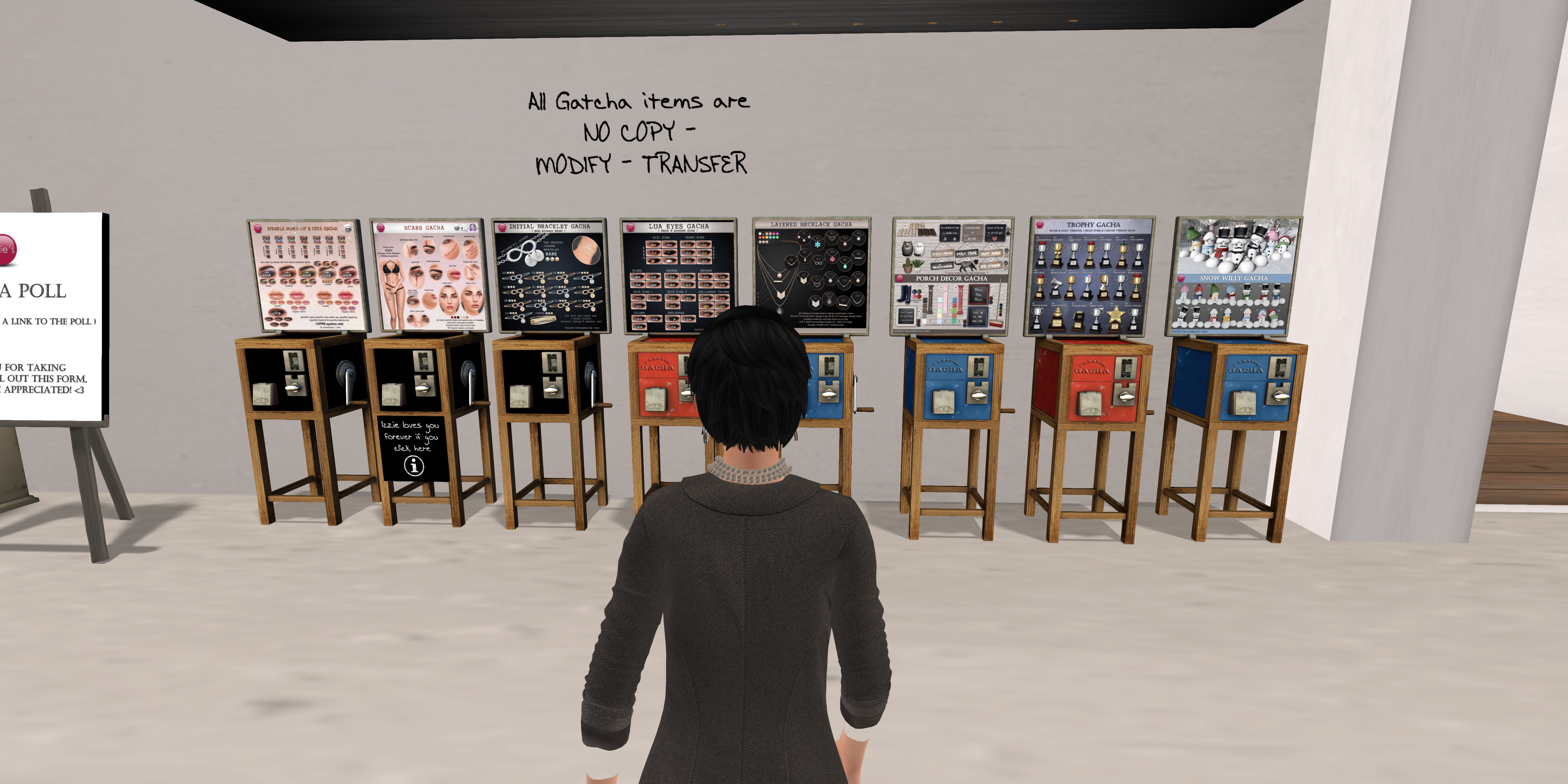 An avatar standing in front of a bunch of gacha machines in Second Life